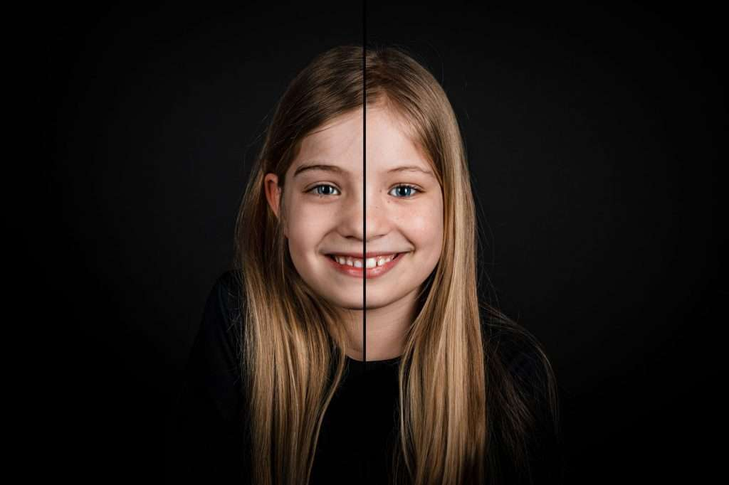 Fusion Kinderportret Twee portretten in één gezicht